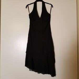 Bisou Bisou Black Asymmetric halter dress, Size 10